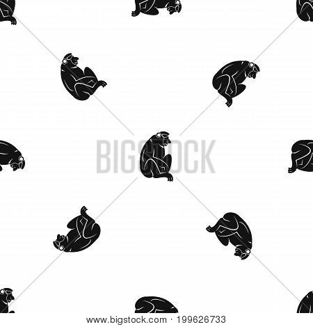 Orangutan pattern repeat seamless in black color for any design. Vector geometric illustration