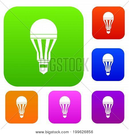 Led bulb set icon in different colors isolated vector illustration. Premium collection