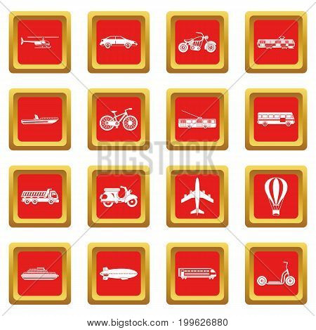 Transportation icons set in red color isolated vector illustration for web and any design