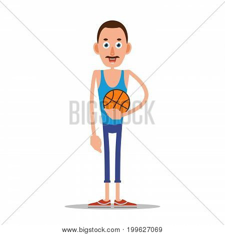 Teacher or coach standing and holding a basketball in his hand. Illustration in flat style. Isolated.