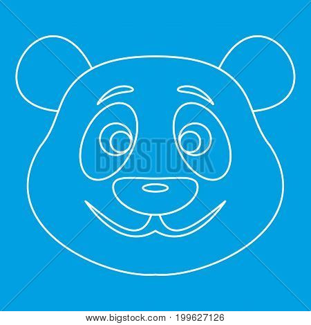 Panda bear icon blue outline style isolated vector illustration. Thin line sign