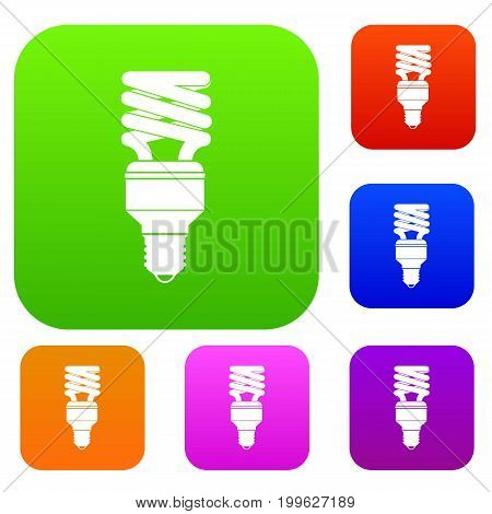 Energy saving bulb set icon in different colors isolated vector illustration. Premium collection