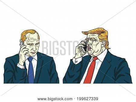Donald Trump with Vladimir Putin on Phone. Cartoon Caricature Vector Illustration. August 14, 2017