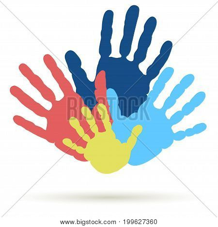 Handprint of family, team. Palm of man, woman and child. Symbol of parenting relationship. United, support, hands together. Vector