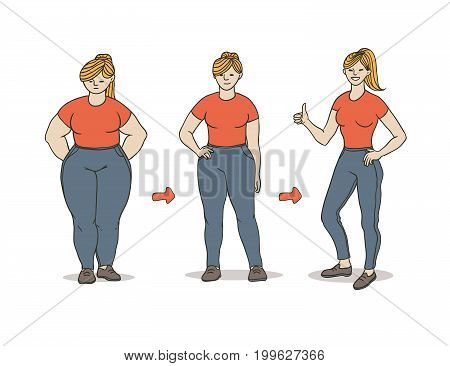 Vector color sketch illustration of how a fat girl loses weight. A young woman becomes slimmer arrows show progress. Satisfaction with the result. Contour painted a picture on a white background