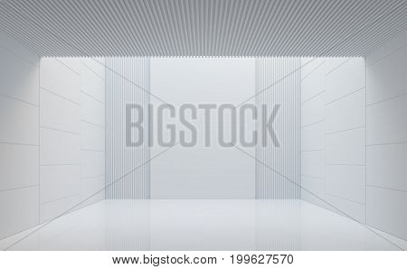 Empty white room modern space interior 3d rendering image.There are white room with natural light sent down from above.