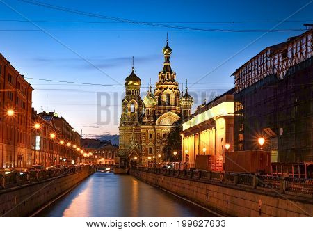 ST.PETERSBURG RUSSIA - MAY 23 2017: The Church of the Savior on Spilled Blood is one of the main sights of St.PetersburgChurch was built in 1883-1907. It is a landmark of central city and a unique monument to Alexander II the Liberator.
