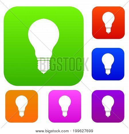 Light bulb set icon in different colors isolated vector illustration. Premium collection