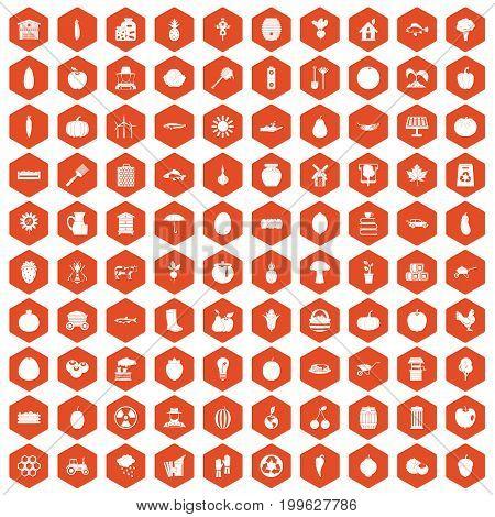100 vitamins icons set in orange hexagon isolated vector illustration