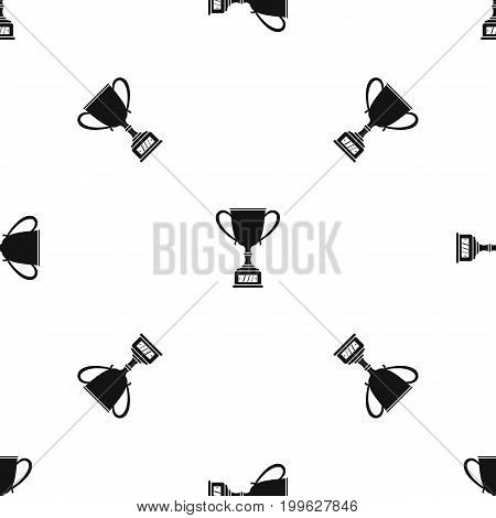 Winner cup pattern repeat seamless in black color for any design. Vector geometric illustration