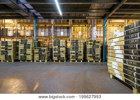 Moscow - August 1, 2017: A lot of the goods are in the large warehouse. Moscow is a modern city with well-developed logistics infrastructure.