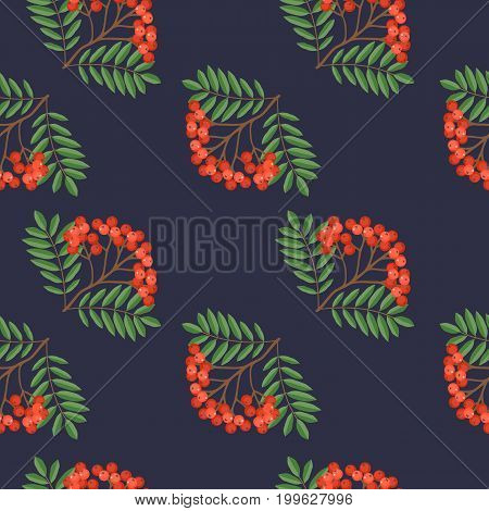 Seamless colorful autumn pattern with rowan and green leaves on a dark blue background. Floral rowan vector illustration for print.