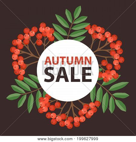 Floral autumn rowan frame on a dark background. Perfect for autumn sale, school or Thankgiving day banners decoration. Vector illustration.