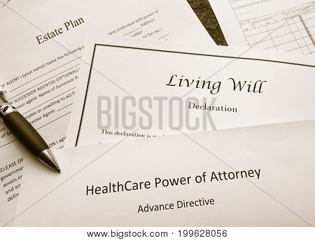 Estate Plan Living Will and Healthcare Power of Attorney documents