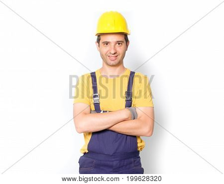 Worker With Arm Crossed  Isolated On White