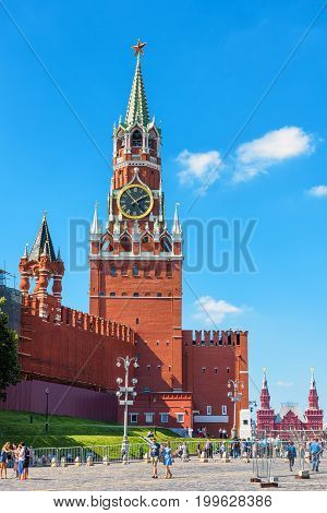 Moscow, Russia - August 10, 2017: The Spasskaya tower of Moscow Kremlin in the Red Square. The Moscow Kremlin is the symbol of Russia and the main tourist attraction of Moscow.
