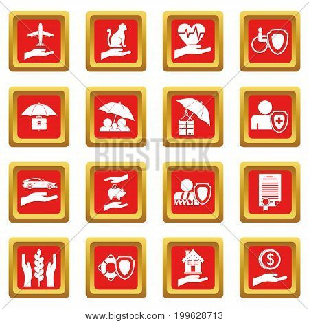 Insurance icons set in red color isolated vector illustration for web and any design