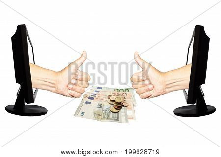 Virtual number one with two hands in displays on the white background and with euro banknotes and coins - abstract success