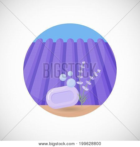 Lavender soap vector flat icon Flat design of aromatic plant beauty product ingredient herb on the lavender field and sky background vector concept illustration with shadows