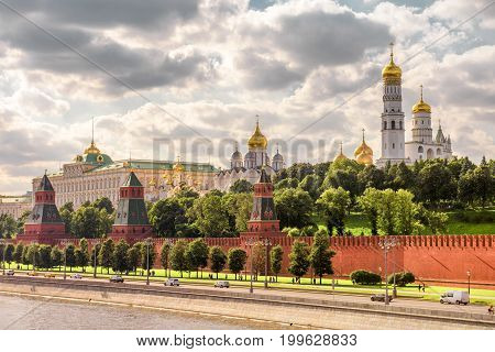 Churches and cathedrals in Moscow Kremlin. View from Moskva River. Kremlin Embankment in Moscow, Russia.