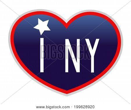 I love new York. Blue heart American symbol icon.