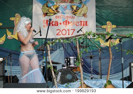 Mariya Smolik song on stage on traditional competition of best mermaid on
