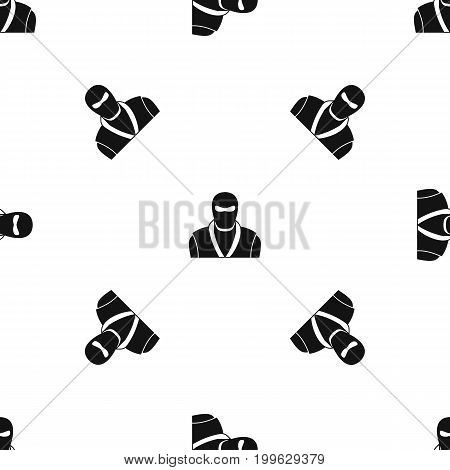 Ninja in black mask pattern repeat seamless in black color for any design. Vector geometric illustration