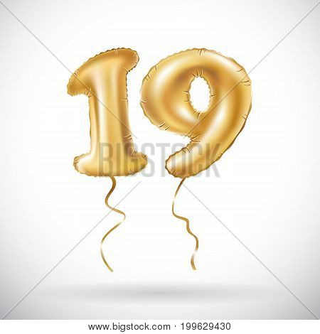 Vector Golden Number 19 Nineteen Metallic Balloon Party Decoration Balloons Anniversary Sig