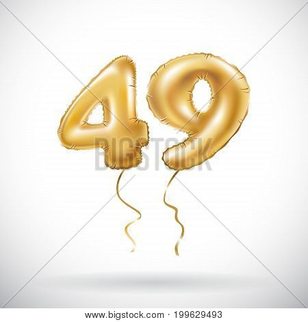 Vector Golden Number 49 Forty Nine Metallic Balloon. Party Decoration Golden Balloons. Anniversary S