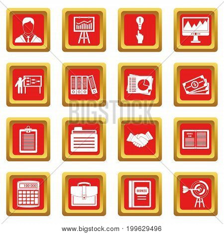 Business plan icons set in red color isolated vector illustration for web and any design