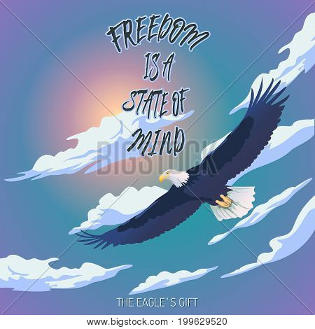Positive affirmation.Vector hand drawn typography concept. T-shirt design or home decor element. Hand drawn inspirational affirmations and encouraging quote.Eagle floating against a cloudy sky background
