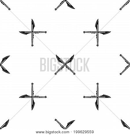 Japanese tanto daggers pattern repeat seamless in black color for any design. Vector geometric illustration