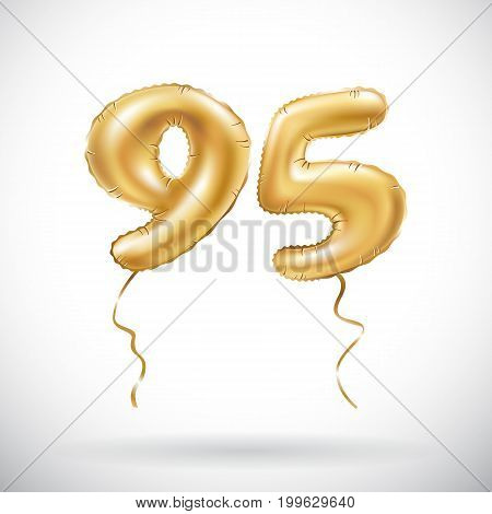 Vector Golden Number 95 Ninety Five Metallic Balloon. Party Decoration Golden Balloons. Anniversary
