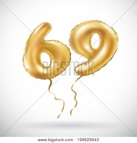 Vector Golden Number 69 Sixty Nine Metallic Balloon. Party Decoration Golden Balloons. Anniversary S