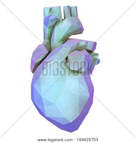 Low polygonal human heart isolated on white background, 3D illustration
