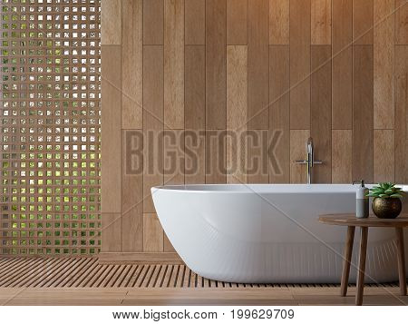 Modern contemporary bathroom 3d rendering image.Decorate wall and floor with wood .There are void with wood lattice Look out to see nature