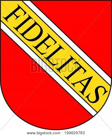 Coat of arms of Karlsruhe is the second-largest city in the state of Baden-Wurttemberg in southwest Germany. Vector illustration