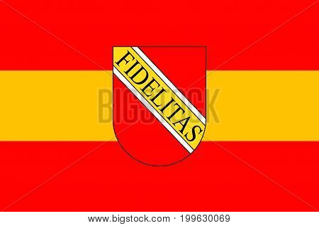 Flag of Karlsruhe is the second-largest city in the state of Baden-Wurttemberg in southwest Germany. Vector illustration