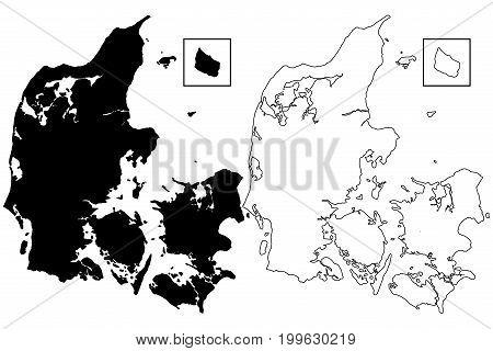 Denmark map vector illustration , scribble sketch Denmark