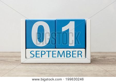 1st September. Image of september 1, calendar on light background. Back to school concept.