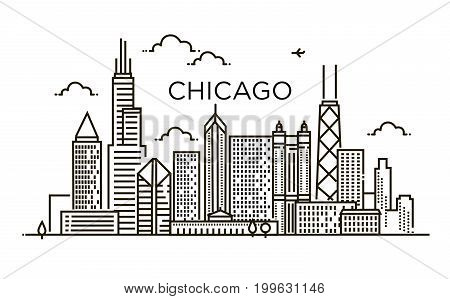 Linear banner of Chicago City Silhouette with Typographic Designi city. Line art.