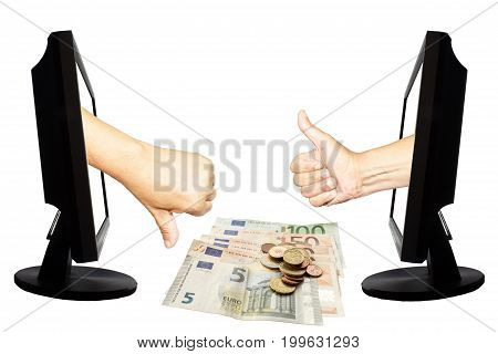 Virtual number one or not one. Two hands in displays with thumb up and down on the white background - internet business concept - teamwork success or not success. Down are euro banknotes and coins.