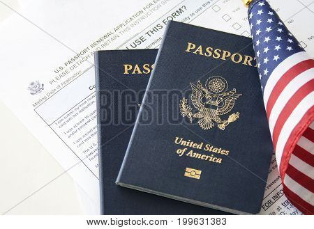 US Immigration/travel concept, passports with flag and renewal form