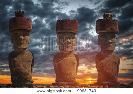Statue On Easter Island Or Rapa Nui In The Southeastern Pacific