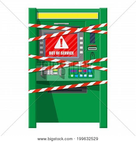 Broken bank ATM with red-white ribbon. Out of service or robbery. Automatic teller machine. Program electronic device for payment and withdraw cash from plastic card. Vector illustration in flat style