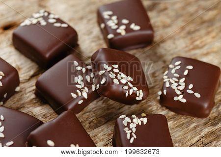 Handmade Chocolate Candies With Sesame Seeds