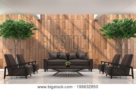 Modern contemporary living room interior 3d rendering image. There are white floor decorate wall with wood plank .The room have skylight void on above and sunny down the wall.