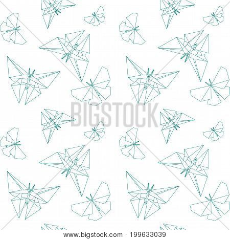 Thin Line Butterfly Paper Origami Style. Vector Seamless Pattern Paper Origami. Japanese Tradition Vector.