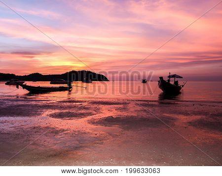 sunset and beach a beautiful at Koh PhanganSurat Thani thailand thailand