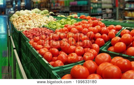 Vegetables in a cash and carry supermarket store, toned